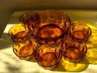 Arcoroc Vintage Amber French Sunburst Glass Dishes