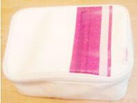 Cosmopolitan Large White Pink Purple Striped Zipped Make Up Bag Case.