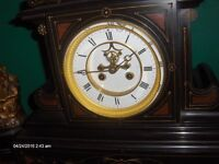 1890 c Large Antique French Black Marble Mantel Clock