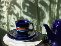Vintage Blue Coffee Set East European China Set