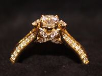 0.42ct certificated diamond engagement ring in 18ct gold with 50 additional diamonds - size L