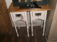 Pair Pine topped painted beside tables with drawers