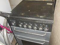 55 cm flavel milano black an grey gas cooker £35
