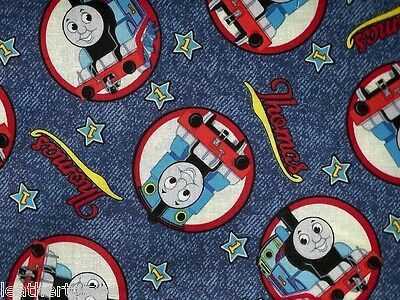 Tank Engine Circles (Cranston VIP ~ THOMAS Tank Engine Circles on Blue ~ 100% Cotton Quilt Fabric)