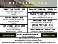Videography/Camera man Music videos start from £100.00 Freestyle Promo videos start from £60.00