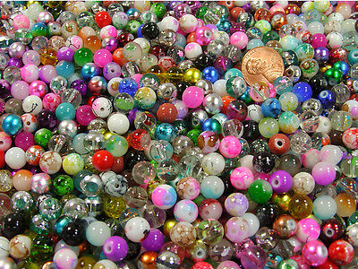 1 POUND LOT ASSORTED 8MM CZECH LAMPWORK GLASS BEADS