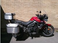 Triumph Tiger 800 XRT with expedition luggage, alarm and engine bars