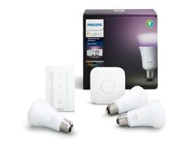 Philips Hue White & Colour Ambience Smart E27 Bulb Starter Kit (3 A19 E27 Bulbs, 1 Bridge, 1 Dimmer)
