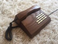 Rare 1970s Solid Wood Trub Telephone by Gfeller