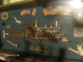 large Antique train model ,steam train in wooden box ,