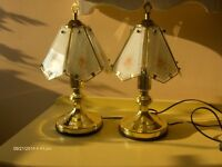 set of 2 Brass Table Lamps Touch Lamps with Glass Shades