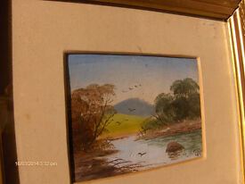 Antique 1940s Oil Painting landscape oil painting in Gold Wooden Frame
