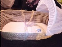 Moses basket with Rocking stand, and comes with free baby bath and a push chair £15