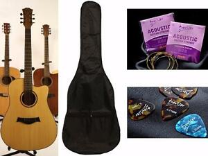 Acoustic guitar for beginners 41 inch Natural iMusic19 Free Soft bag, String set, 5 picks iMusicGuitar