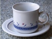 Pair of Biltons Coloroll Blue Greek cup and saucer