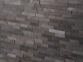Black Splitface Slate Mosaic Tiles - Kitchen, Hearth, Firelplace