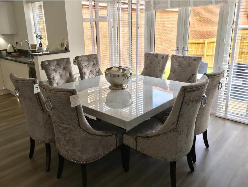 Barker And Stonehouse Solid Marble Dining Table With Crushed Velvet Chairs