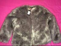 Brand New With Tags Womens Faux Fur Coat/Jacket size 14