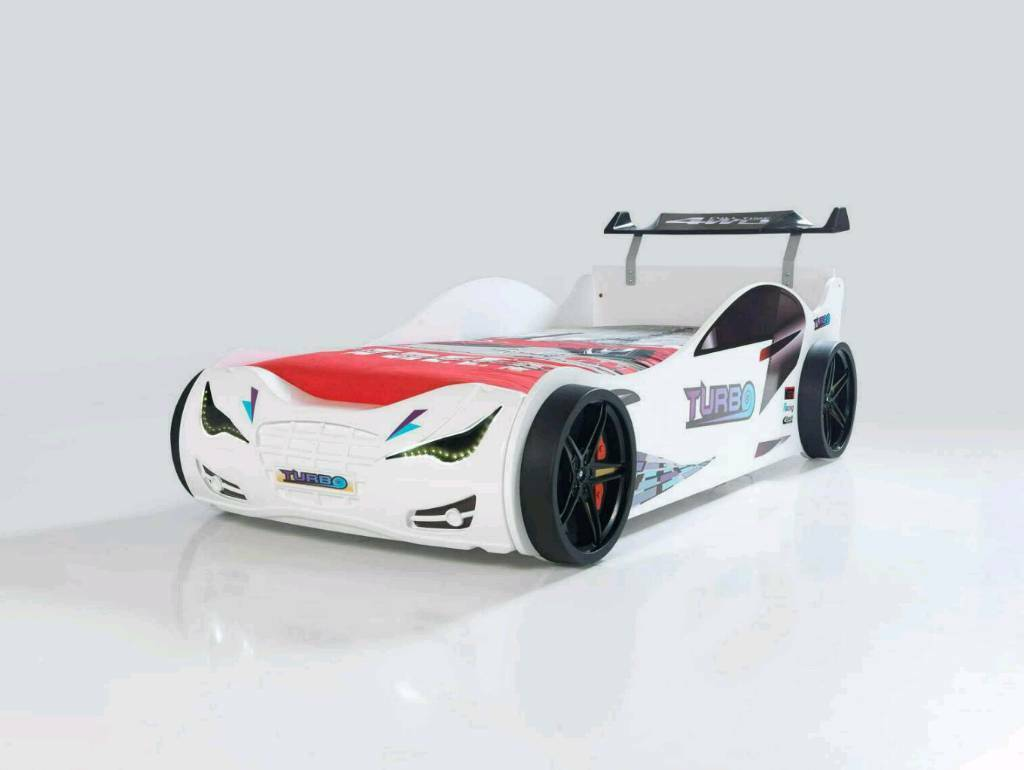 Turbo race car bed in white