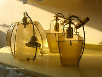 Italian Brass Lantern Lights for Traditional home , Vintage Set 3 Pieces