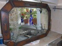 Antique Edwardian Art Deco Oak Wall Bevelled Mirror