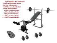 Weight Training Bench Barbell & Dumbbell Complete Set Cast Iron Plates: New