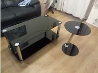 Combi - Home Matrix Coffee Table and Side table - Black Glass
