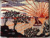 Vintage Handmade Wool Clippy Mat / Hooky & Proggy Rag Mat Rug - 90cm x 70cm