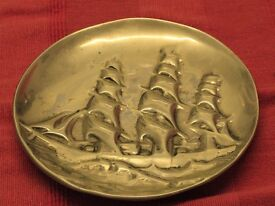 polished pewter plate signed