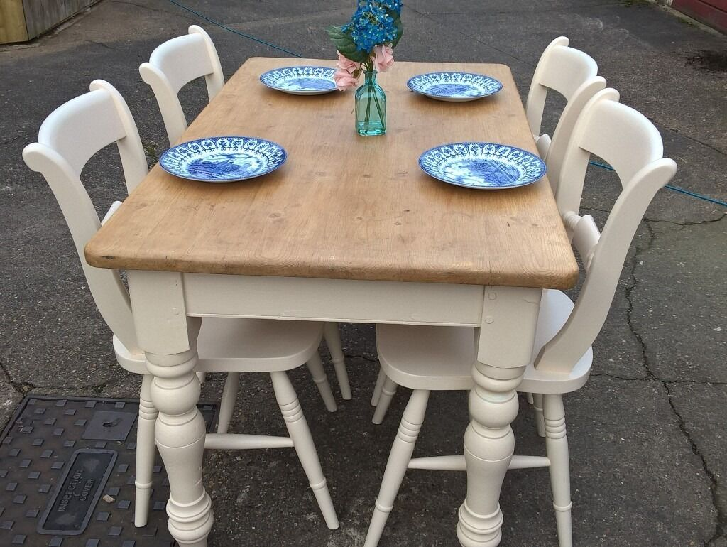 Pine Farmhouse Kitchen Table Solid Pine Farmhouse Kitchen Table With 4 Chairs All Hand Painted