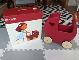 Moover Red Wooden Toy Pram New in Box rrp £60