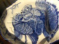 Antique Original 1890 Blue & White Large TURKEY Plate