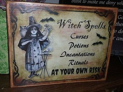 Vintage Sign Witch Spells Incantations, Potions, Curses, Rituals Halloween  - Witch Spells Halloween