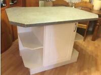 White kitchen island table storage cupboard