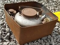 This is a vintage camping/motoring kettle. Is was my parents and I would guess it is 1940s/1950s.