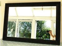 Vintage Black Rectangular Beveled edge Mirror in an attractive embossed frame (Ref 201)