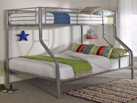 furniture in stores-Trio Sleeper Metal Bunk Bed Frame in silver Color-Mattress Options