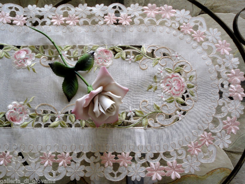 "Pink Princess Rose Sheer  Lace  70"" Table Runner  Doily"