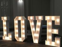 LOVE LED light up letters, all letters available MR & MRS, wedding bride event party birthday