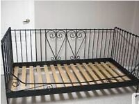 Ikea black metal day bed with free single mattress