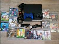 PS3 Slim 320gb + 13 games + 2 official wireless controllers + camera and 2 motion controllers