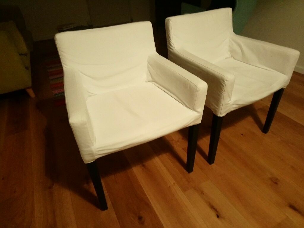 Ikea NILS Dining Room Chairs With White Covers X2