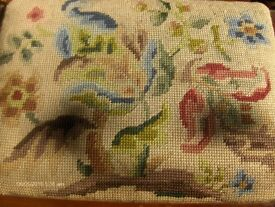 Vintage Footstool With Floral Tapestry Top and Wooden Legs