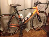 Road racing bike with accessories