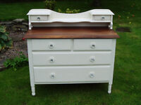 "Vintage (early 1900s) Dressing Table, Chic not Shabby, Farrow & Ball ""White Tie"""