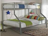 🪐🪐Furniture free🪐🪐-Kids bunk Bed Trio Metal Bunk Bed Frame W Optional Mattress🪐🪐