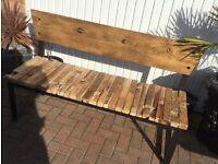 Solid Elm Garden Bench, New / Boxed