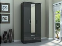 Birlea Lynx Black High Gloss 3 Door 2 Drawer Mirrored Wardrobe