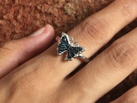 Butterfly white, black and blue diamond 925 sterling silver ring