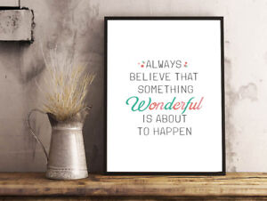 INSPIRATIONAL MOTIVATIONAL POSITIVE WONDERFUL QUOTE A4 POSTER PRINT WALL ART